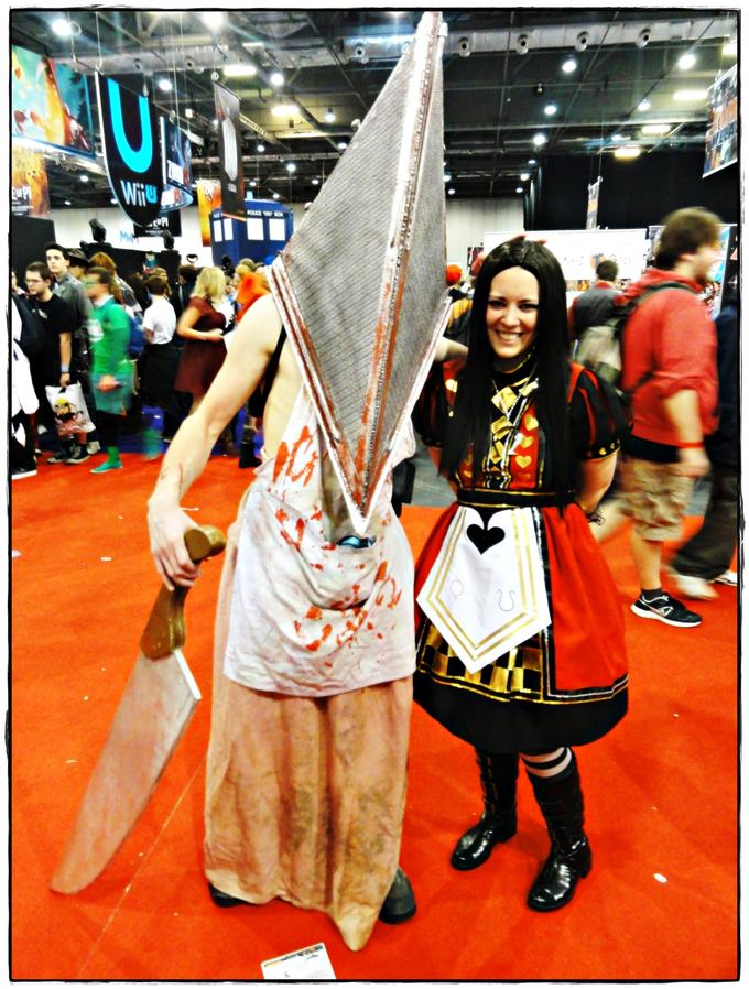 Alice Liddell and Pyramid Head by jagged66