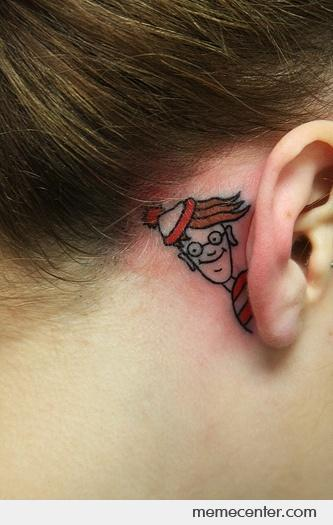 Where's Waldo ear tatto