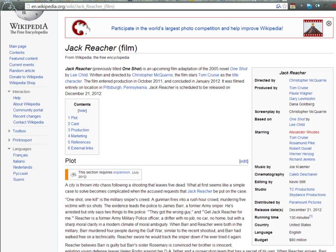 Jack Reacher Wikipedia Page