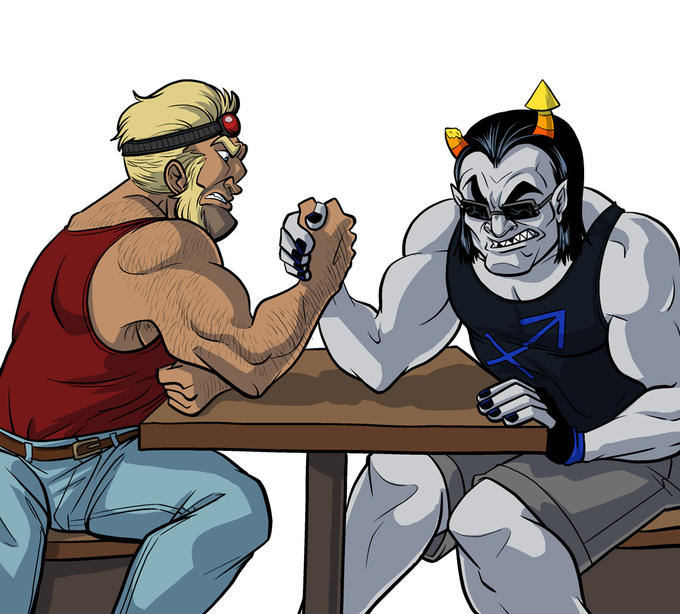 Commander Badass arm wrestles Equius