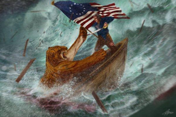 George Washington Fighting Tiger in a Hurricane