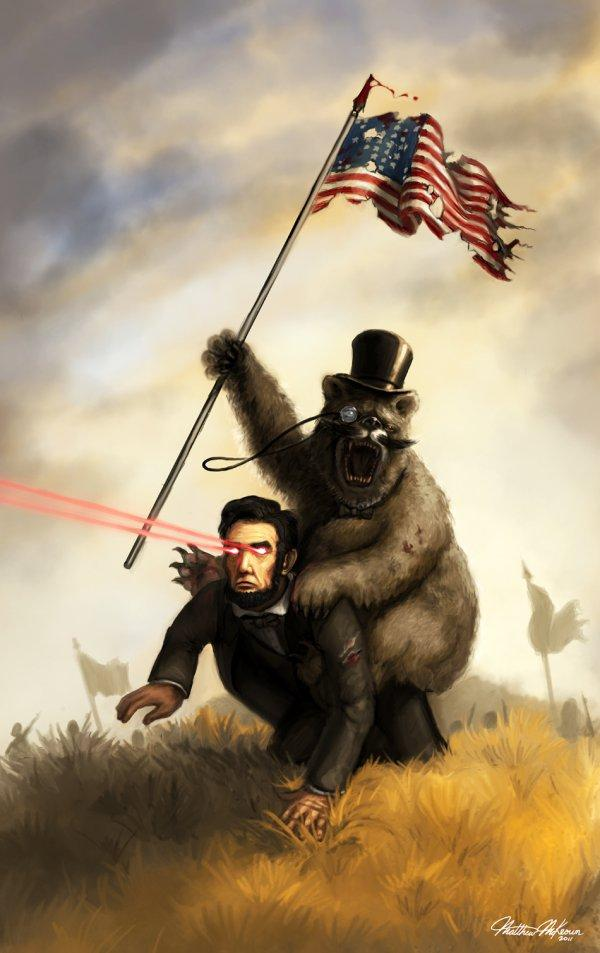 Bear in a Top Hat Riding Abraham Lincoln