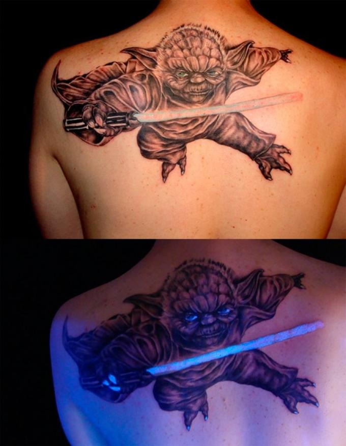 Glow-in-the-Dark Yoda Tattoo