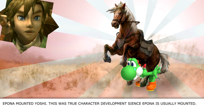 EPONA MOUNTED YOSHI. THIS WAS TRUE CHARACTER DEVELOPMENT SIENCE EPONA IS USUALLY MOUNTED.