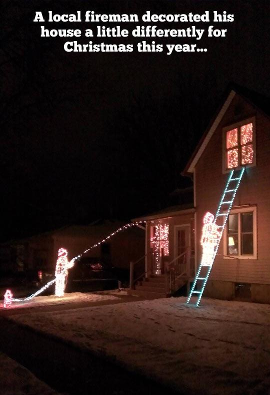 A Fireman's Christmas Light Decoration