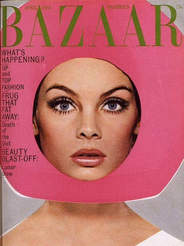 Jean Shrimpton on cover of Harpers Bazaar, April 1965