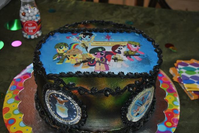 A mom made her 13 year old son a military brony birthday cake and sent us a pic :D