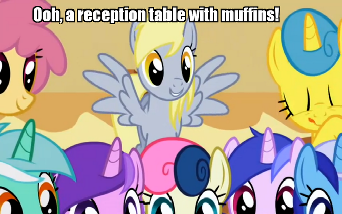 Derpy sees a reception table with muffins!