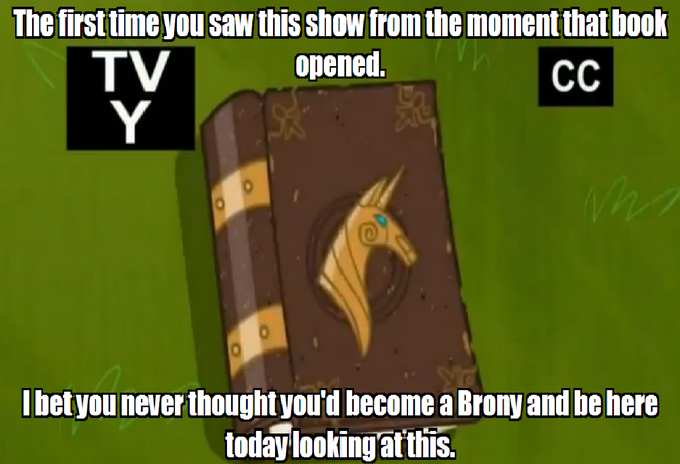 The first time you saw this show from the moment that book opened. I bet you never thought you'd become a Brony and be here today looking at this.
