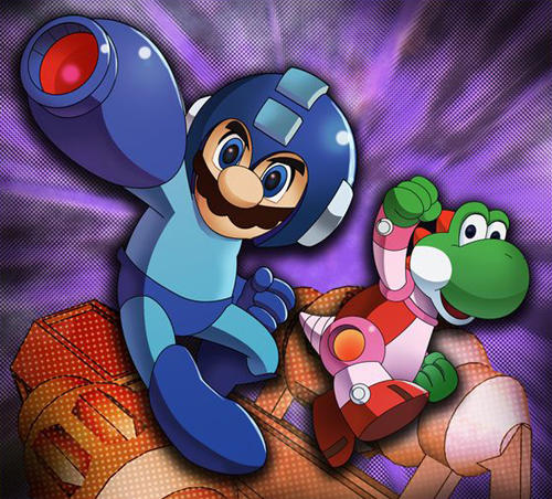 Mario and Yoshi as Mega Man and Rush