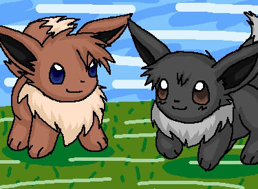 Ash and Gary as Eevees