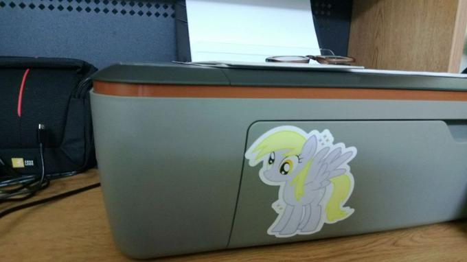 I keep a derpy sticker on the feed tray of my printer, that way when I hit print and forget to put it down I know exactly what went wrong