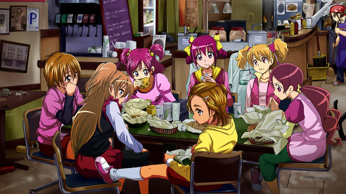 The Cures having some shawarmas.