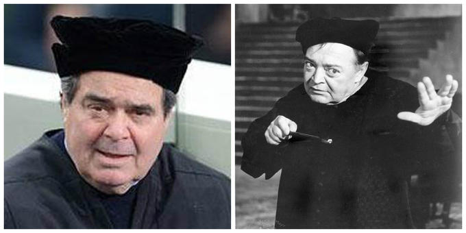 "Supreme Court Justice Antonin Scalia attends 2013 presidential inauguration as Peter Lorre in ""The Raven"""
