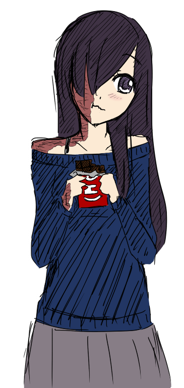Hanako eating chocolate