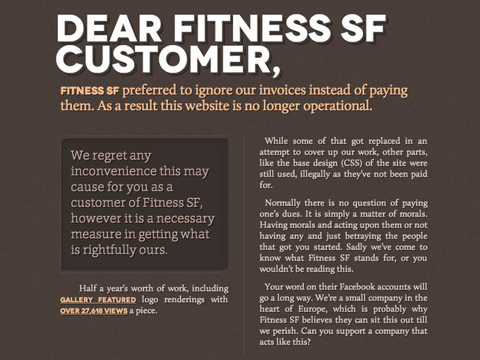 FitnessSF Website Impounded by a Disgruntled Freelance Web Designer