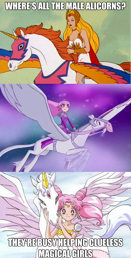 Where's all the male alicorns? They're busy helping clueless magical girls