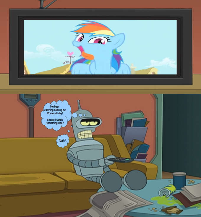 Bender watches My Little Pony: Friendship is Magic on Tv