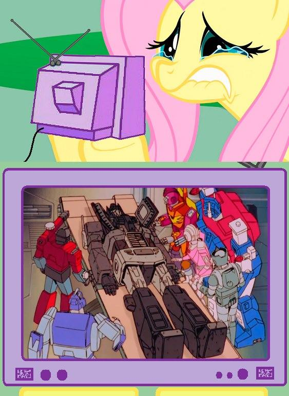 Fluttercry watching the death of Optimus Prime