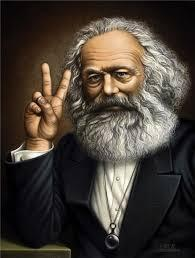 Marx Giving the V Sign
