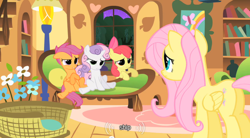 It's like Scootaloo and Sweetie Belle have no idea what shipping is yet Applebloom seems like she's familiar with the topic