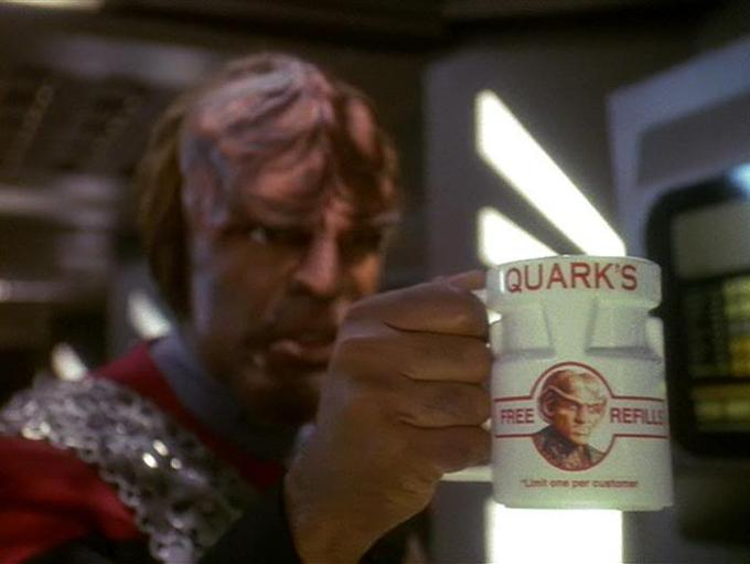 Worf with Quark mug