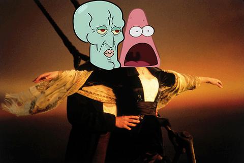 Surprised Patrick and Handsome Squidward