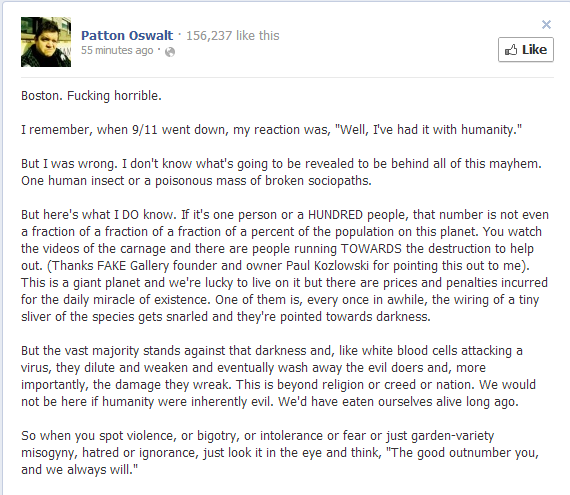 Patton Oswalt's Facebook Status Update