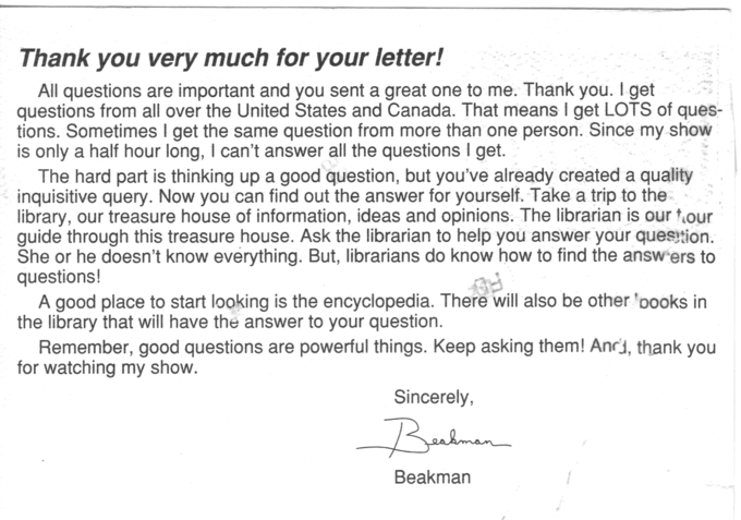 A letter form Beakman's World show