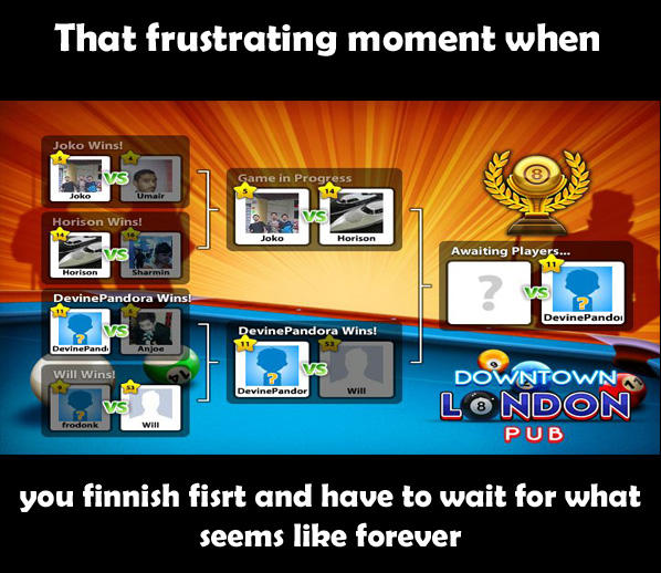 That frustrating moment when you finish first and have to wait for what seems like forever
