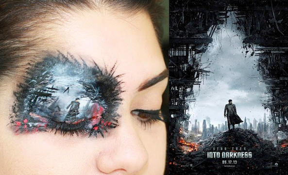 """A Woman Painted The """"Star Trek Into Darkness"""" Poster On Her Eyelids With Makeup"""