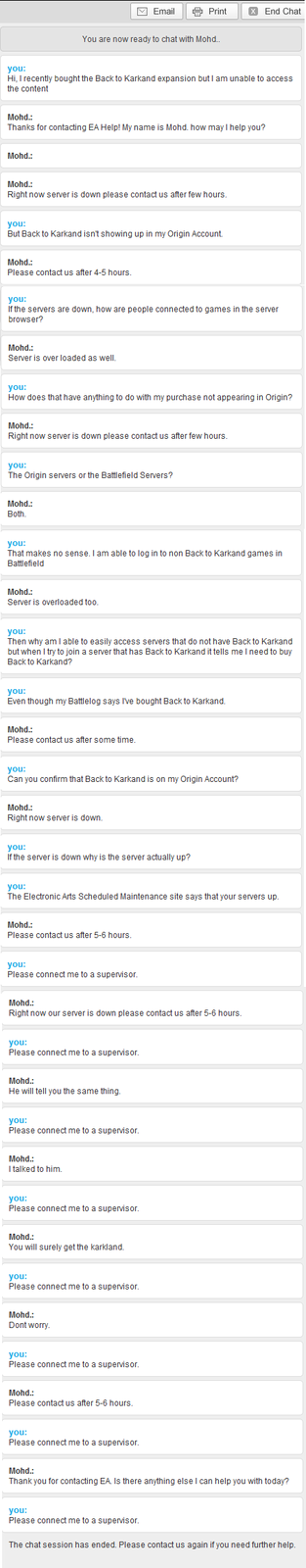 Customer Service chat - Battlefield edtion