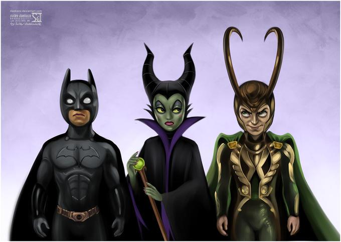 Batman, Maleficent and Loki