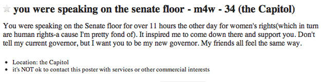 A Very Cute Missed Connections On Craigslist For Wendy Davis