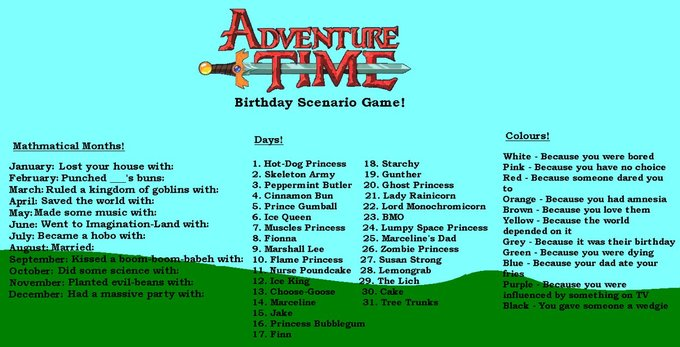 Adventure Time birthday scenario game