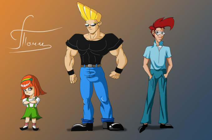a Jerk,a Litttle Girl and a Nerd (Or just Johnny Bravo Gang)