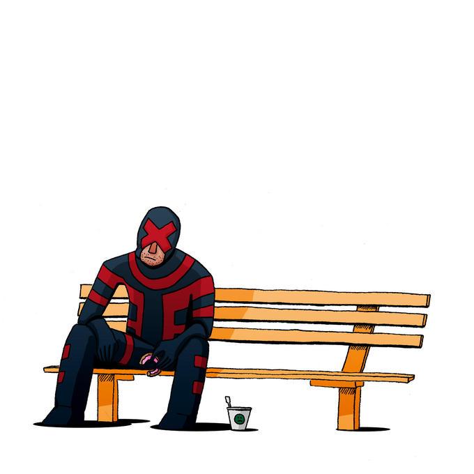 Sad cyclops is eating donuts