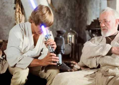 """This is the weapon of a Jedi Knight, not as clumsy or random as a blaster"" - Obi Wan Kenobi"
