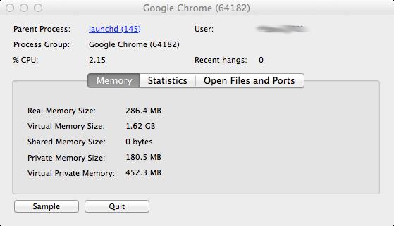 Chrome parent process memory usage