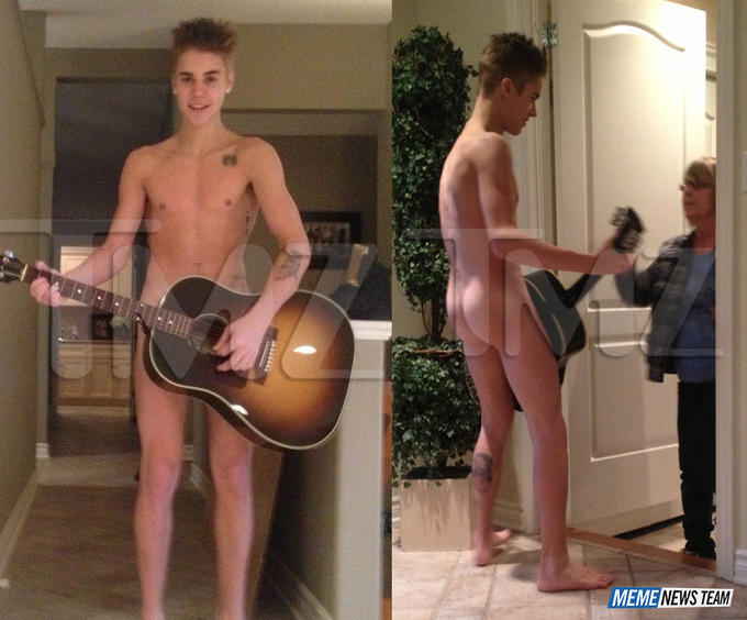 Justin Bieber plays the guitar for his grandmom--naked.