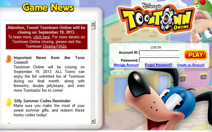 Announcement of closing Toontown Online