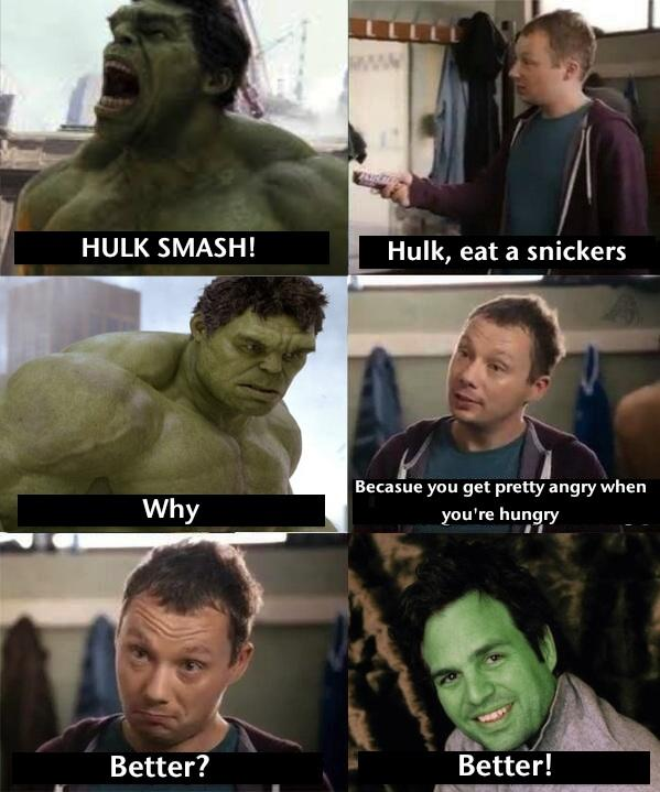 Hulk eats Snickers