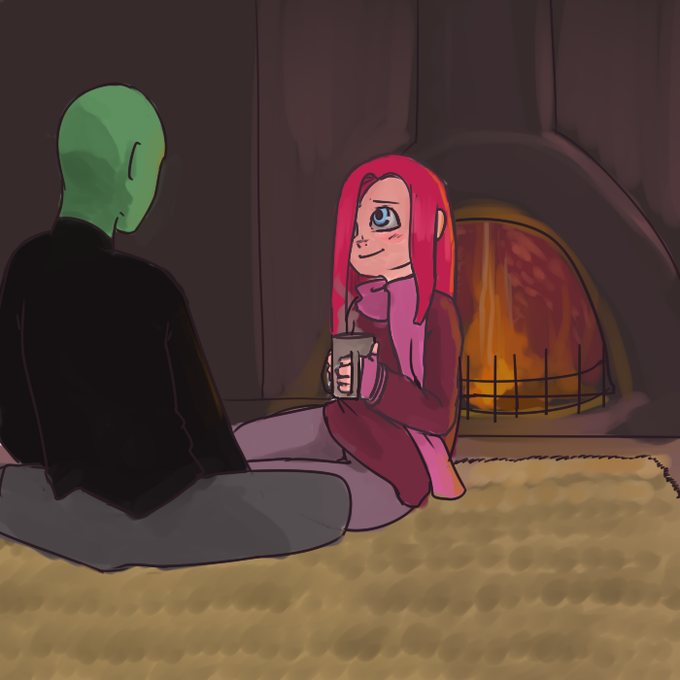 Anon and Ponko by the fire.