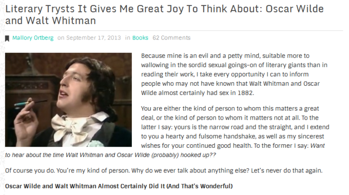 Literary Trysts It Gives Me Great Joy To Think About: Oscar Wilde and Walt Whitman