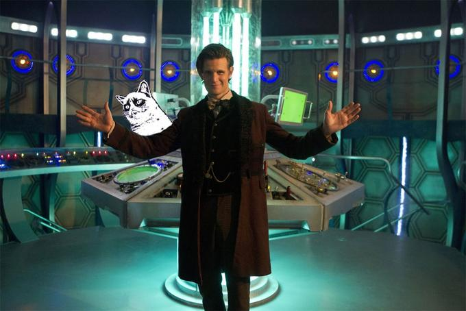 Dr Who Grumpy Cat Photobomb