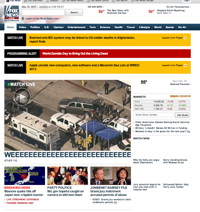 Zombie Outbreak Alert on FoxNews.com (11/5/13)