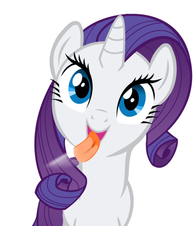 Rarity licking the screen
