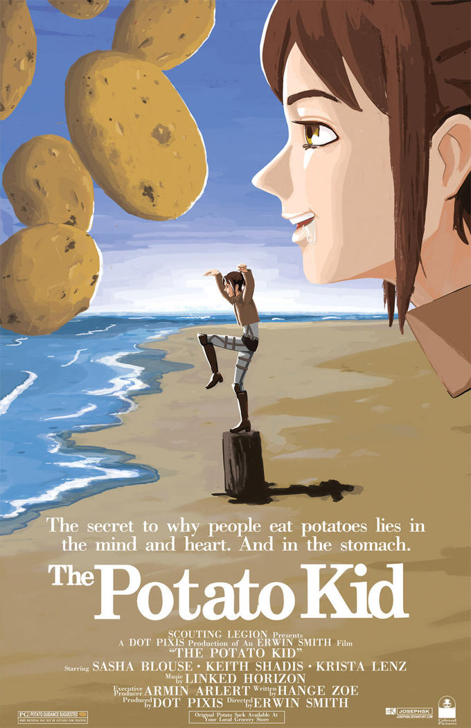 A scouting legion master agrees to teach a hungry girl 3D Maneuver Gear and asks her why she is eating a potato