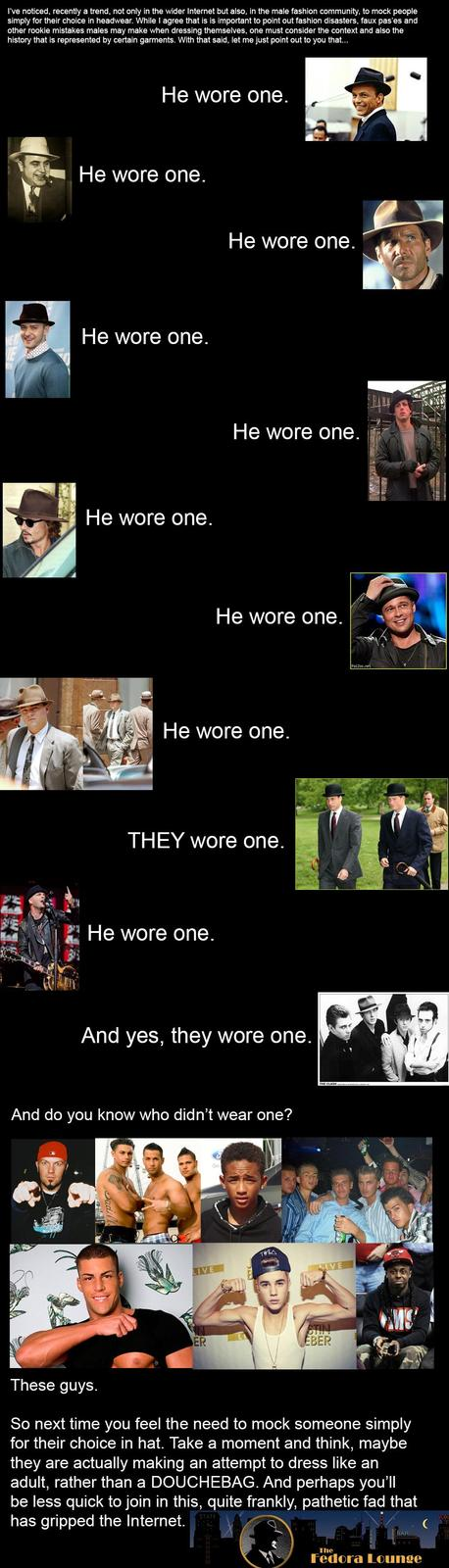 Half of those aren't even fedoras