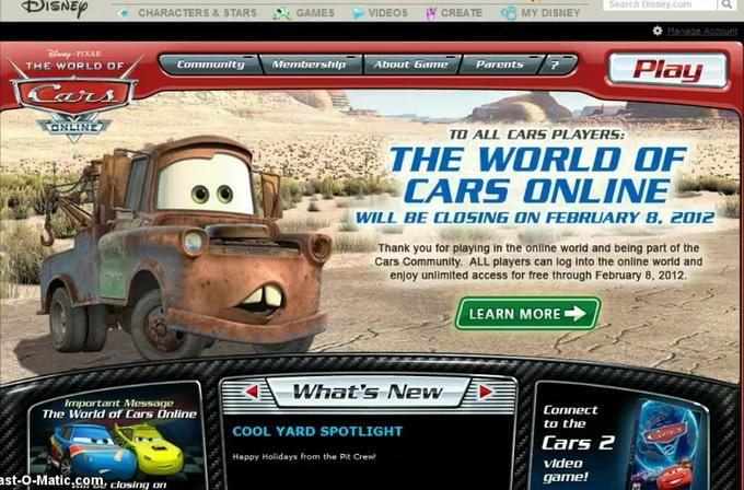 The Announcement of The World of Cars Online Closing.